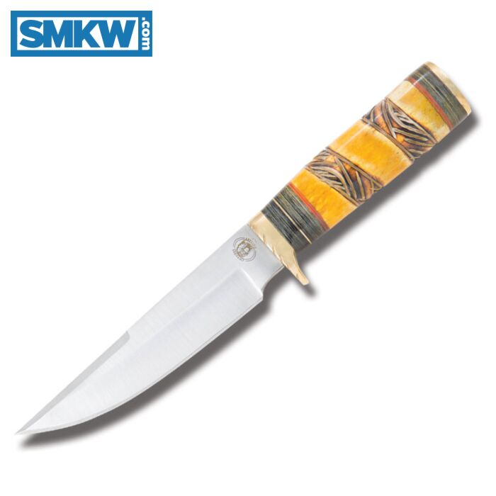 Frost Cutlery Chipaway Cutlery Chief Black Feather Hunting Knife With Carved Bone Handles And Stainless Steel Clip Point Plain Edge Blades Smkw