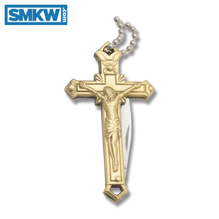 Rough Rider Crucifix Necklace Knife With Brass Handles Smkw