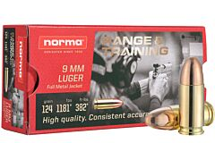 Norma Range and Training Ammo 9mm 124 Grain FMJ 50 Rounds
