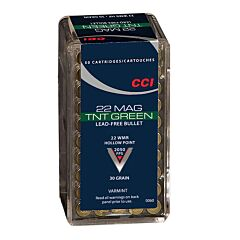 CCI TNT Green 22 Winchester Magnum Rimfire 30 Grain Lead Free  Hollow Point 50 Rounds