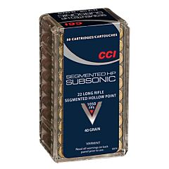 CCI Sub-Sonic 22 LR 40 Grain Copper Plated Segmented Hollow Point 50 Rounds
