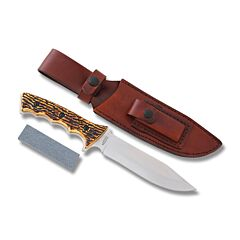 """Schrade Cutlery Uncle Henry Fixed Blade with Staglon Handles and 3Cr13 Stainless Steel 6.375"""" Clip Point Plain Edge Blades Model 1085939"""