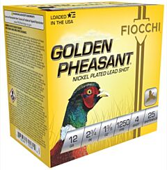 "Fiocchi Golden Pheasant 12 Gauge 2.75"" 1.37oz #4 Bird Shot 25 Shells"