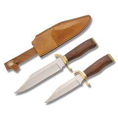 Fixed Blade Knife Set with Wood Handles