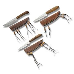 3pc Wood Handle Patch Hunters Set with Burlwood Handles and Stainless Steel Plain Edge Blades