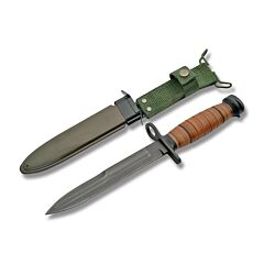 "German Fighter Bayonet with Stacked Leather Handles and Black Coated Stainless Steel 6.625"" Dagger Plain Edge Blades Model 211132"