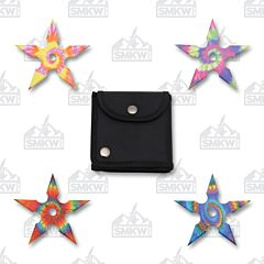 "4"" 4-Piece Tye-Dye Throwing Star Set"