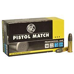 RWS Pistol Match 22 Long Rifle 40 Grain Lead Round Nose 50 Rounds