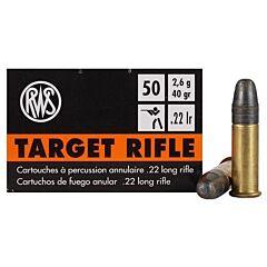 RWS Target Rifle 22 Long Rifle 40 Grains Round Nose 50 Rounds