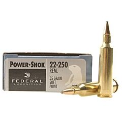 Federal Power-Shok 22-250 Remington 55 Grain Soft Point 20 Rounds