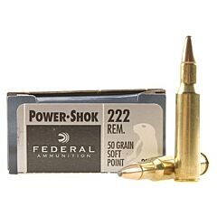 Federal Power-Shok 222 Remington 50 Grain Soft Point 20 Rounds