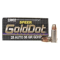 CCI Speer Gold Dot 25 Auto 35 Grain Jacketed Hollow Point 20 Rounds