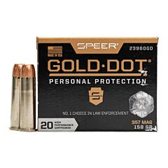 Speer Gold Dot 357 Magnum 158 Grain Jacketed Hollow Point 20 Rounds