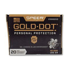 Speer Gold Dot 40 S&W 180 Grain Jacketed Hollow Point 20 Rounds