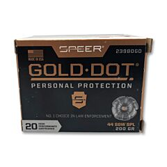 Speer Gold Dot 44 Special 200 Grain Jacketed Hollow Point 20 Rounds