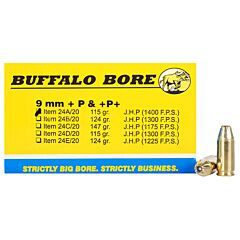 Buffalo Bore 9mm Luger +P 115 Grain Jacketed Hollow Point 20 Rounds