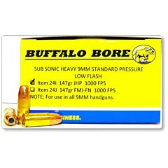 Buffalo Bore Subsonic 9mm Luger 147 Grain Jacketed Hollow Point 20 Rounds