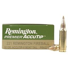 Remington Premier 221 Remington Fireball 50 Grain AccTip Polymer Tip Boat Tail 20 Rounds