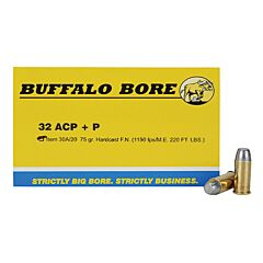 Buffalo Bore 32 ACP +P 75 Grain Flat Nose 20 Rounds