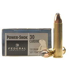 Federal Power-Shok 30 Carbine 110 Grain Soft Point Round Nose 20 Rounds