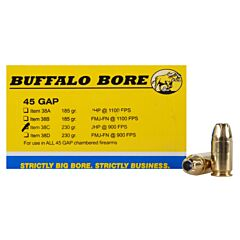 Buffalo Bore 45 GAP 230 Grain Jacketed Hollow Point 20 Rounds