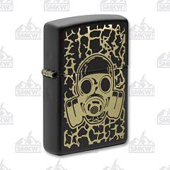 Zippo Black Matte Gas Mask Skull Lighter