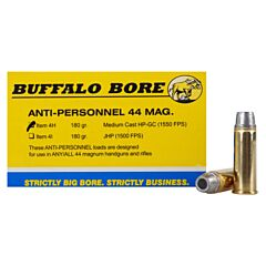 Buffalo Bore Anti-Personnel 44 Remington Magnum 180 Grain Jacketed Hollow Point 20 Rounds