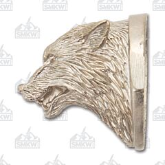 Swan Lake Knives Nickel Silver Wolf Head Pommel #122 Model 500122N