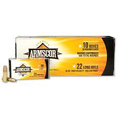 Armscor Precision 22 Long Rifle 36 Grain High Velocity Hollow Point 500 Rounds