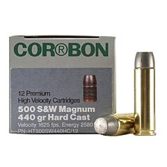 Cor-Bon Hunter 500 S&W Magnum 440 Grain Cast Lead Flat Point 12 Rounds