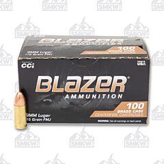 CCI Blazer Brass 9mm Luger 115 gr Full Metal Jacket 100 Rounds