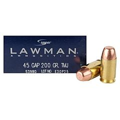 Speer Lawman 45 GAP 200 Grain Total Metal Jacket 50 Rounds