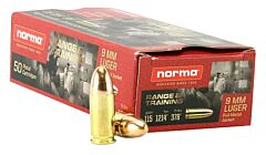 Norma 9MM Luger Full Metal Jacket 115 Grain 50 Rounds