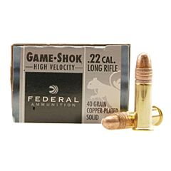 Federal Game-Shok 22 LR 40 Grain Copper Plated Solid Point 50 Rounds