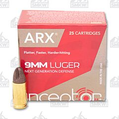 Inceptor Preferred Defense 9MM LUger 65 Grain ARX 25 Rounds