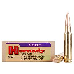 Hornady Superformance Match 308 Winchester 178 Grain Hollow Point Boat Tail 20 Rounds