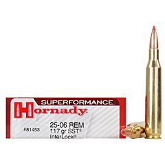 Hornady Superformance 25-06 Remington 117 Grain Interlock Polymer Tip Boat Tail 20 Rounds