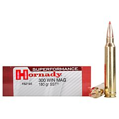 Hornady Superformance 300 Winchester Magnum 180 Grain SST Polymer Tip Boat Tail 20 Rounds