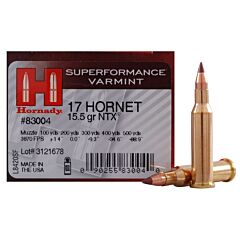 Hornady Superformance Varmint 17 Hornet 15.5 Grain Non-Toxic Expanding 25 Rounds