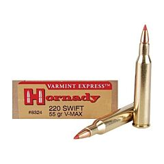 Hornady Varmint Express 200 Swift 55 Grain V-Max Polymer Tip Flat Base 20 Rounds