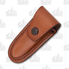 "AA&E Leathercraft 4.5"" Folding Knife Brown Leather Sheath"