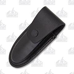 "AA&E Leathercraft 5.5"" Folding Knife Black Leather Sheath"
