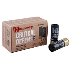 "Hornady Critical Defense 12 Gauge 2-3/4"" 8 Pellets 00 Buckshot 10 Rounds"