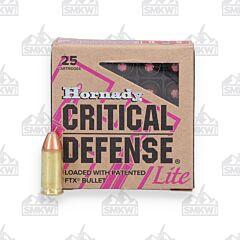 Hornady Critical Defense Lite 9mm 100 Grain Flex Tip Expanding 25 Rounds