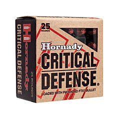 Hornady Critical Defense 9mm Luger 115 Grain Flex Tip Expanding 25 Rounds