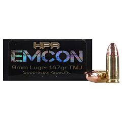 HPR HyperClean EMCON 9mm Luger Subsonic 147 Grain Total Metal Jacket 20 Rounds