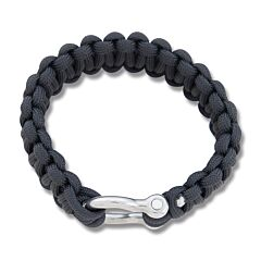 "Combat Ready Black 9"" Survival Bracelet with Metal Buckel"