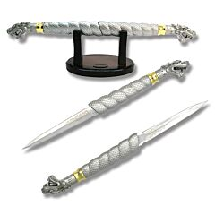 Double Dragon Daggers Acid Etched Stainless Steel Blades Silver Zinc Alloy Handles