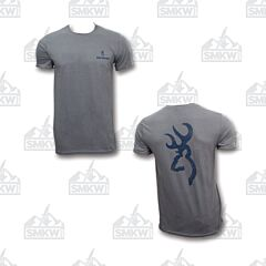 Browning Men's Distressed Buckmark T-Shirt Charcoal/Navy