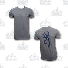 Browning Men's Distressed Buckmark T-Shirt Charcoal/Navy